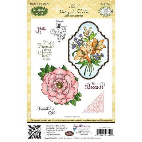 JustRite - Cling Mounted Rubber Stamps - Floral Vintage Labels Two