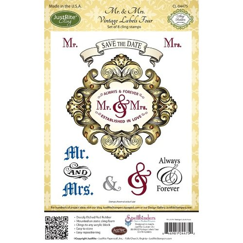 JustRite - Cling Mounted Rubber Stamps - Mr and Mrs Vintage Labels Four