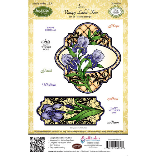 JustRite - Cling Mounted Rubber Stamps - Irises Vintage Labels Four