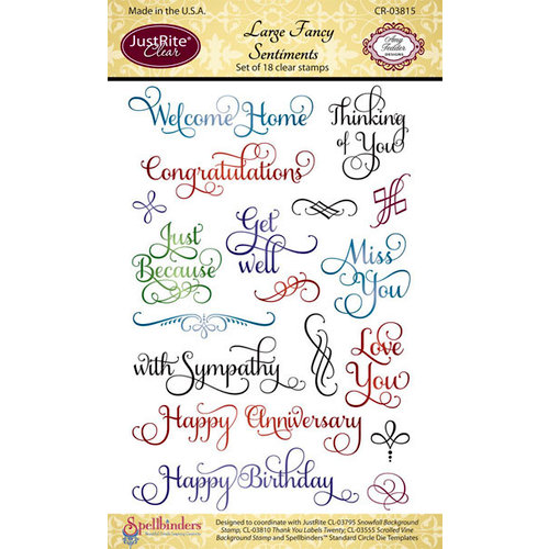JustRite - Clear Acrylic Stamps - Large Fancy Sentiments