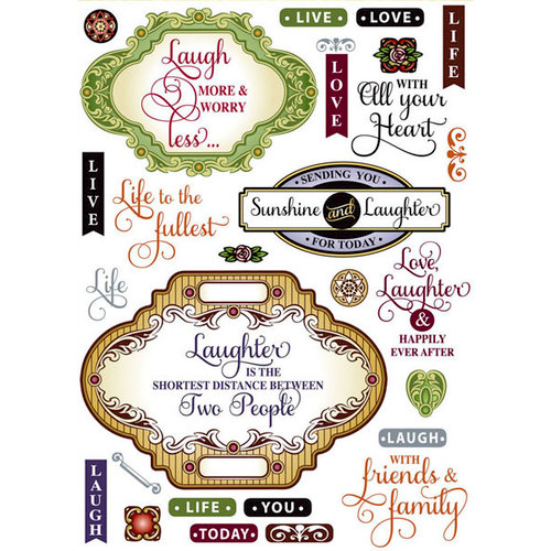 JustRite - Clear Acrylic Stamps - Live Love Laugh Vintage Labels Two