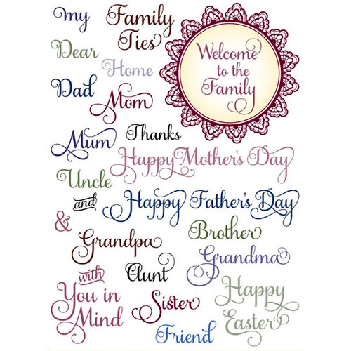 JustRite - Clear Acrylic Stamps - All in the Family Large Sentiments