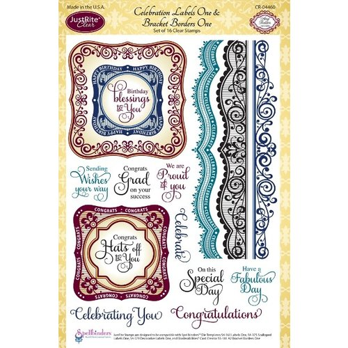 JustRite - Clear Acrylic Stamps - Celebrations Labels One and Bracket Border One