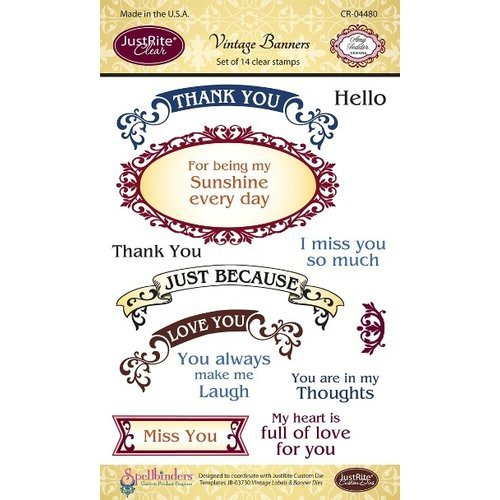 JustRite - Clear Acrylic Stamps - Vintage Banners and Labels