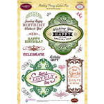 JustRite - Clear Acrylic Stamps - Birthday Vintage Labels Four