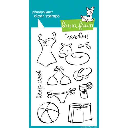 Lawn Fawn - Clear Acrylic Stamps - Swimsuit Season