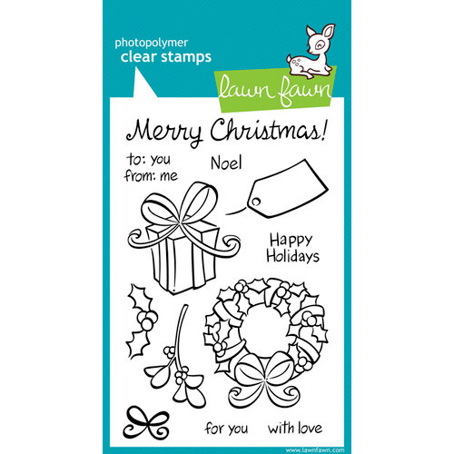Lawn Fawn - Clear Acrylic Stamps - Christmas - Bows and Holly
