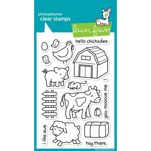 Lawn Fawn - Clear Acrylic Stamps - Critters on the Farm