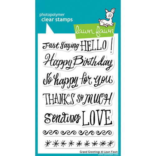 Lawn Fawn - Clear Acrylic Stamps - Grand Greetings