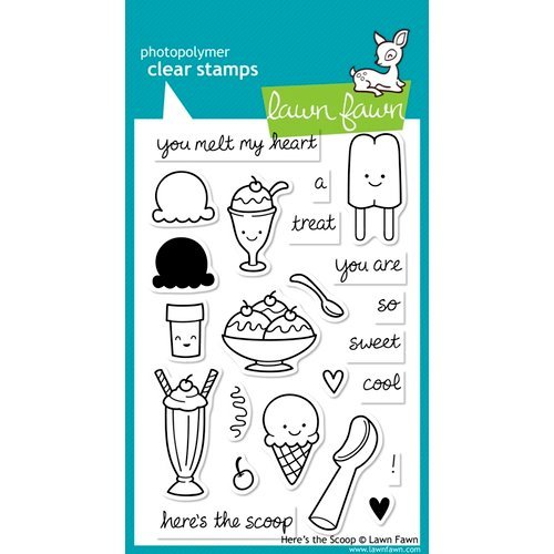 Lawn Fawn - Clear Acrylic Stamps - Here's the Scoop