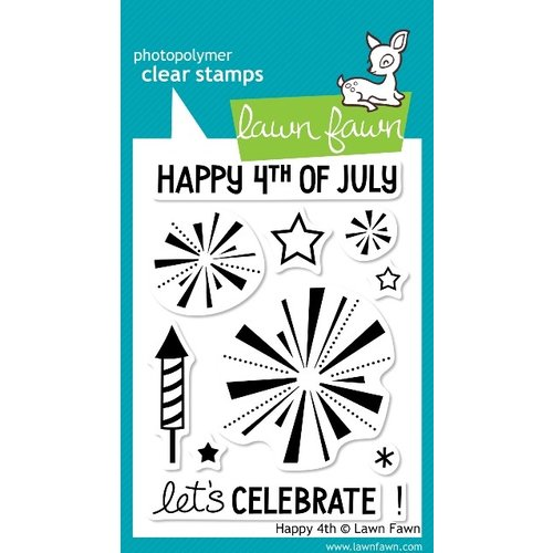 Lawn Fawn - Clear Acrylic Stamps - Happy 4th