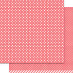Lawn Fawn - Lets Polka Collection - 12 x 12 Double Sided Paper - Wild Rose Polka