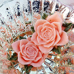 Marion Smith Designs - Junque and Gems Collection - Resin Roses - Peach