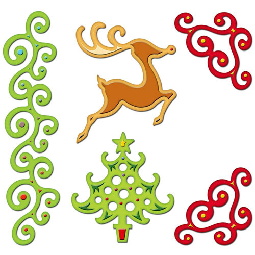 Spellbinders - Shapeabilities Collection - Christmas - Die Cutting and Embossing Templates - Fanciful Holiday