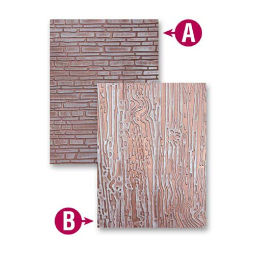 Spellbinders - M-Bossabilities Collection - Embossing Folders - Bricks And Bark