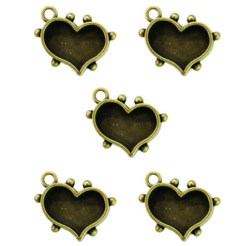 Spellbinders - Media Mixage Collection - Bezels - Hearts One - Bronze - 5pk