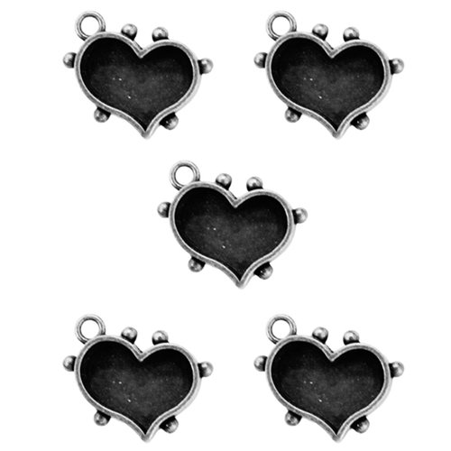Spellbinders - Media Mixage Collection - Bezels - Hearts One - Silver - 5pk