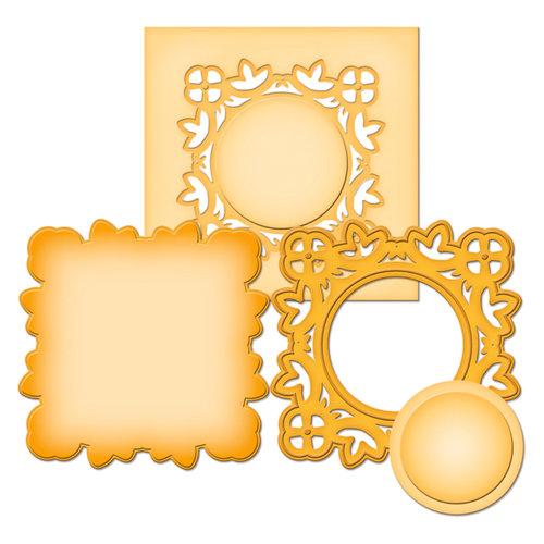 Spellbinders - Shapeabilities Collection -  D-Lites - Die Cutting and Embossing Template - Medallion Two