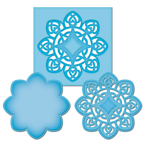 Spellbinders - Shapeabilities Collection -  D-Lites - Die Cutting and Embossing Template - Medallion Four