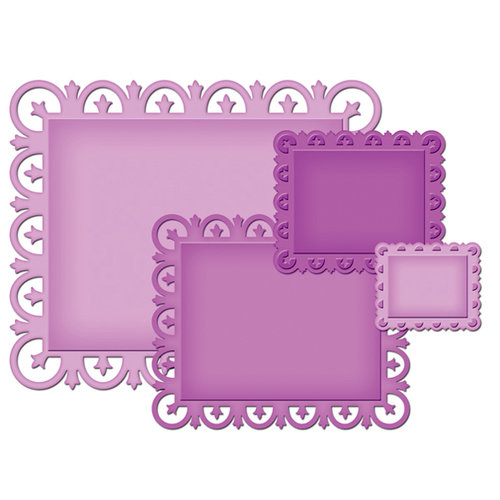 Spellbinders - Nestabilities Collection - Die Cutting and Embossing Templates - Fleur De Lis Rectangles
