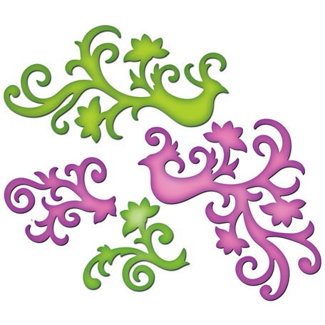 Spellbinders - Shapeabilities Collection - Die Cutting and Embossing Templates - Bird Flourishes
