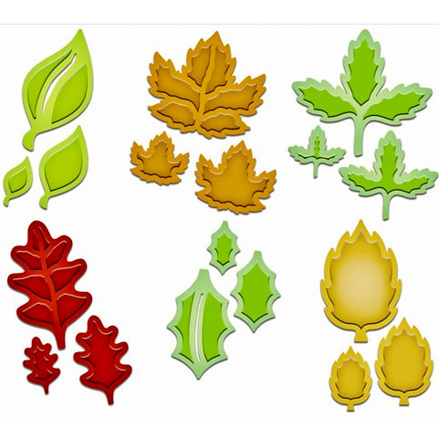 Spellbinders - Shapeabilities Collection - Die Cutting and Embossing Templates - Little Leaf Sets