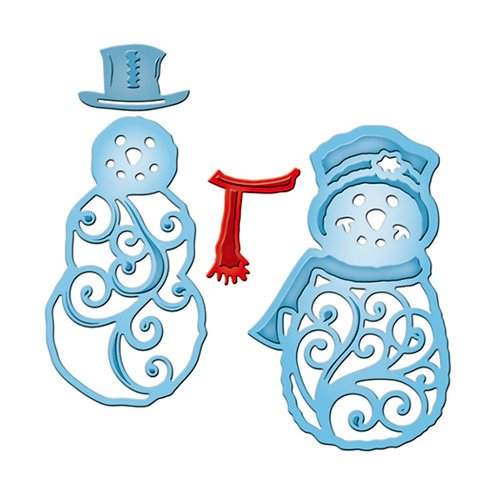 Spellbinders - Shapeabilities Collection - Die Cutting and Embossing Templates - Mr And Mrs Snowman