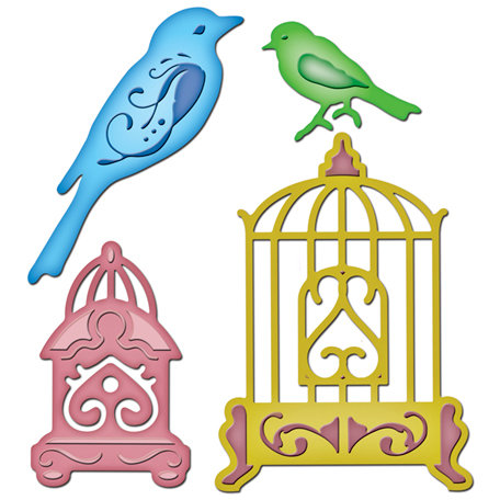Spellbinders - Shapeabilities Collection - Die Cutting and Embossing Templates - Bird Sanctuary