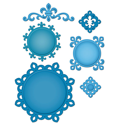 Spellbinders - Shapeabilities Collection - Die Cutting and Embossing Templates - Fleur de Lis Doily Motifs