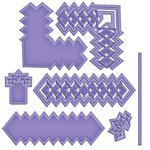 Spellbinders - Cut Fold and Tuck Die Cutting Template - Diamond Strips And Accents