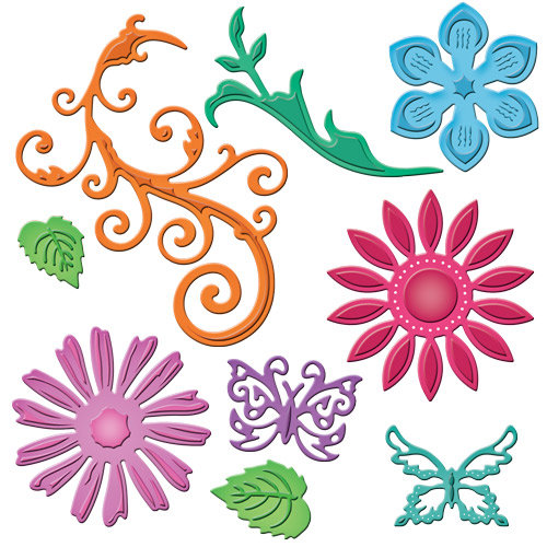 Spellbinders - Shapeabilities Collection - Julianna Hudgins - Die Cutting and Embossing Templates - Jewel Flowers And Flourishes