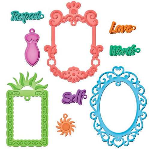 Spellbinders - Shapeabilities Collection - Die Cutting and Embossing Templates - Jewel Framed Sentiments