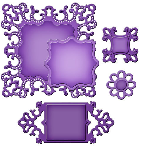 Spellbinders - Shapeabilities Collection - Die Cutting and Embossing Template - Ornate Squares