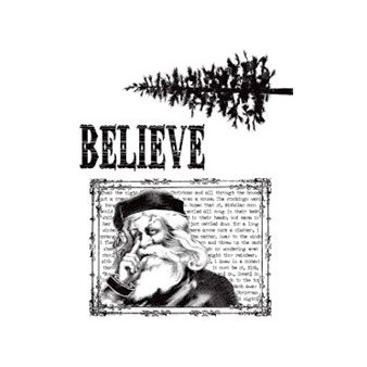 Stampers Anonymous - Tim Holtz - Christmas - Cling Mounted Rubber Stamp Set - Just Believe
