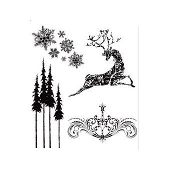 Stampers Anonymous - Tim Holtz - Christmas - Cling Mounted Rubber Stamp Set - Reindeer Flight