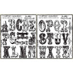 Stampers Anonymous - Tim Holtz - Cling Mounted Rubber Stamp Set - Large Alphabet
