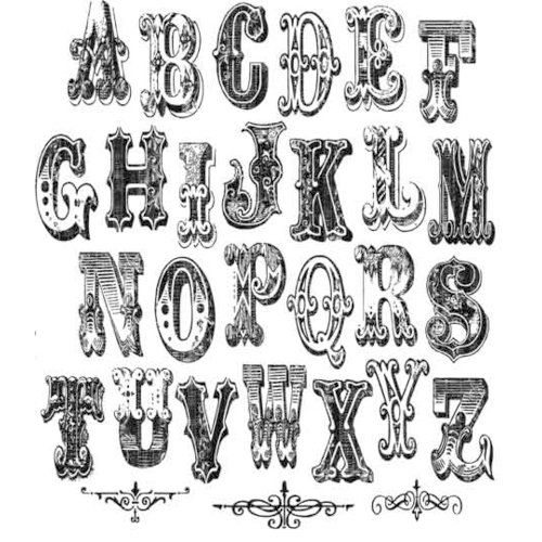 Stampers Anonymous - Tim Holtz - Cling Mounted Rubber Stamp Set - Mini Cirque Alphabet