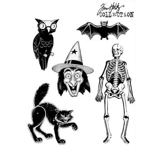 Stampers Anonymous - Tim Holtz - Cling Mounted Rubber Stamp Set - Retro Halloween