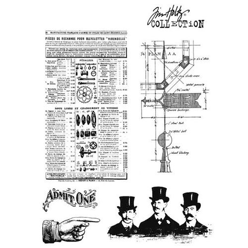 Stampers Anonymous - Tim Holtz - Cling Mounted Rubber Stamp Set - Steampunk