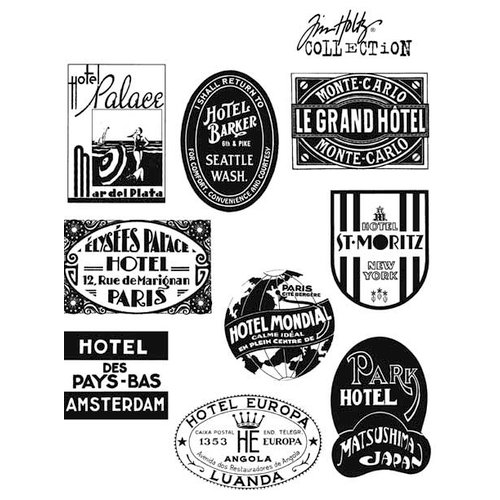 Stampers Anonymous - Tim Holtz - Cling Mounted Rubber Stamp Set - Travel Labels
