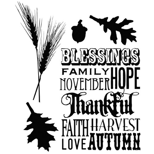 Stampers Anonymous - Tim Holtz - Cling Mounted Rubber Stamps - Thankful Silhouettes