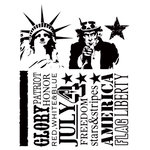 Stampers Anonymous - Tim Holtz - Cling Mounted Rubber Stamp Set - Americana Silhouettes