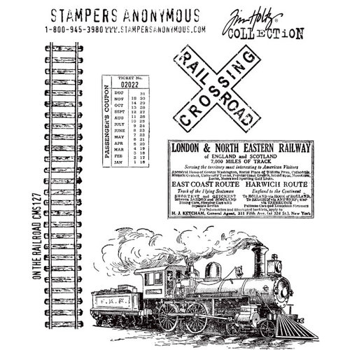 Stampers Anonymous - Tim Holtz - Cling Mounted Rubber Stamp Set - On The Railroad
