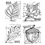 Stampers Anonymous - Tim Holtz - Cling Mounted Rubber Stamp Set - Autumn Blueprint