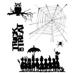 Stampers Anonymous - Tim Holtz - Cling Mounted Rubber Stamp Set - Halloween Cutouts