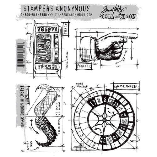 Stamper's Anonymous - Tim Holtz - Cling Mounted Rubber Stamp Set - Ringmaster Blueprint