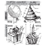 Stamper's Anonymous - Tim Holtz - Cling Mounted Rubber Stamp Set - Birthday Blueprint