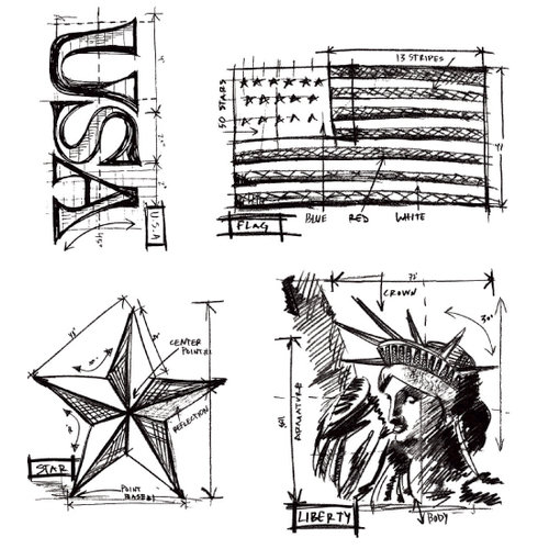 Stampers Anonymous - Tim Holtz - Cling Mounted Rubber Stamp Set - Americana Blueprint