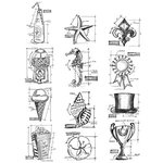 Stampers Anonymous - Tim Holtz - Cling Mounted Rubber Stamp Set - Mini Blueprints 6