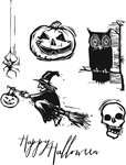 Stampers Anonymous - Tim Holtz - Cling Mounted Rubber Stamp Set - Carved Halloween